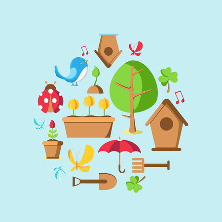 Garden tools set collection with tree, pot, ground, watering can, bird house and many other objects vector illustration Stock Vector - 93567346
