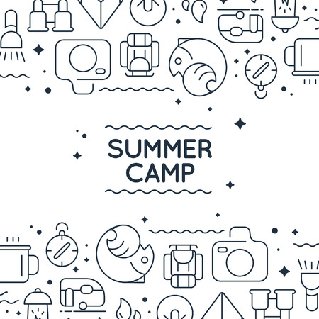 Monochrome stylish doodle frame with images under and upper the text of barbecue, tea, equipment and many other objects on the white background vector illustration