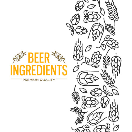 Stylish design card with images to the right of the yellow text beer ingredients of flowers, twig of hops, blossom, malt vector illustration  イラスト・ベクター素材