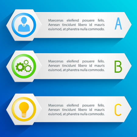 Colorful horizontal business banners set isolated on blue background flat vector illustration