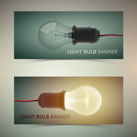 Horizontal creative design template banners with realistic light bulbs isolated vector illustration