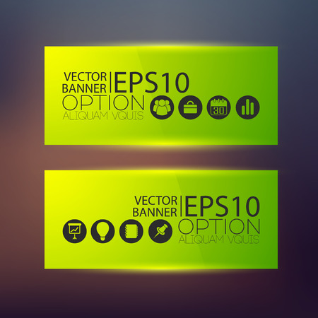 Web horizontal banners in green color with business icons on blurred background. Isolated vector illustration.
