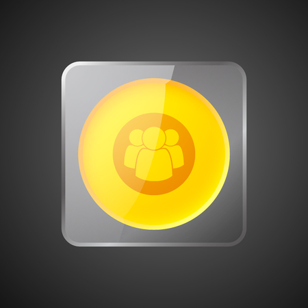 Abstract web interface element with orange circle in glass square frame and team icon. Isolated vector illustration.