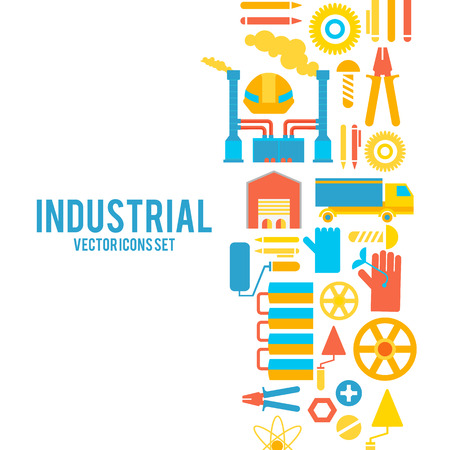 Industrial Vector Colored Decorative Icons Concept.