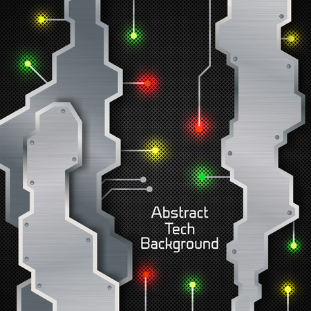 Abstract tech background poster with colorful lights as in the cosmic space, metal shapes and text in the centre of the black field vector illustration Illusztráció