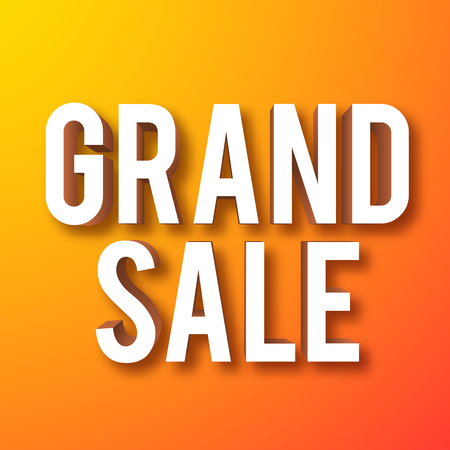 Grand sale symbol on orange background realistic isolated vector illustration Illustration