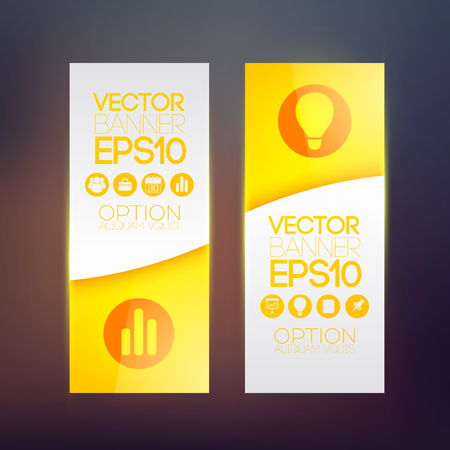 Business abstract vertical banners in orange color with icons on blurred background isolated vector illustration