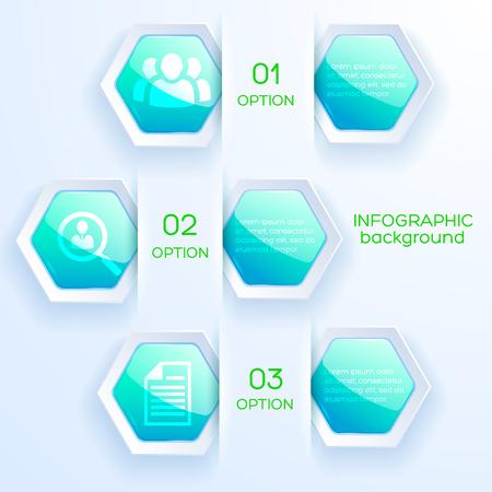 비즈니스 아이콘 및 밝은 배경 벡터 일러스트 레이 션에 광택 밝은 청록색 육각형 웹 infographic 추상 개념