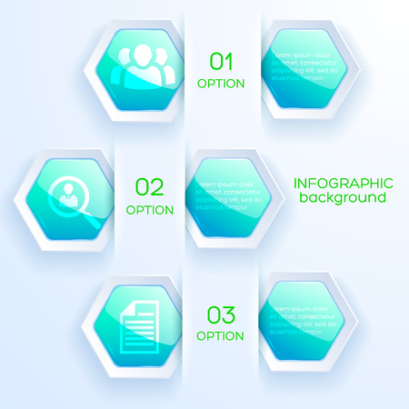 Web infographic abstract concept with business icons and glossy bright turquoise hexagons on light background vector illustration 免版税图像 - 93709048