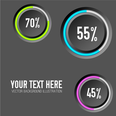 Abstract business infographics with gray circles colorful rings and percent rates on dark background isolated vector illustration Illustration