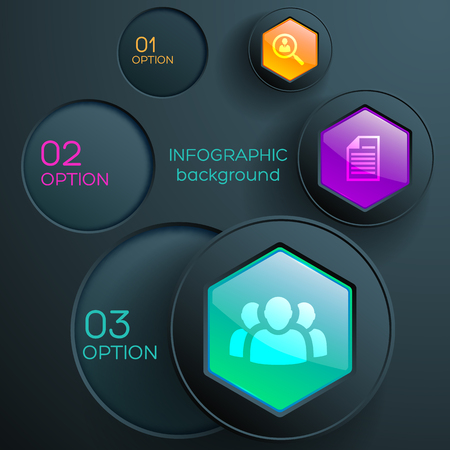 Business web infographic concept with icons three steps colorful hexagonal buttons and dark circles vector illustration
