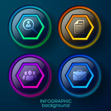 Bedrijfs infographic malplaatje met vier kleurrijke glanzende Webelementen en pictogrammen vectorillustratie