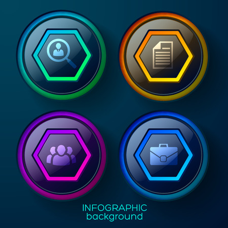 Business infographic template with four colorful glossy web elements and icons vector illustration