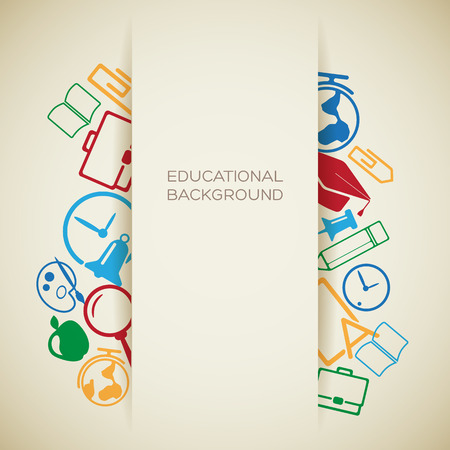 School education concept with place for text and colorful school icons on light background vector illustration