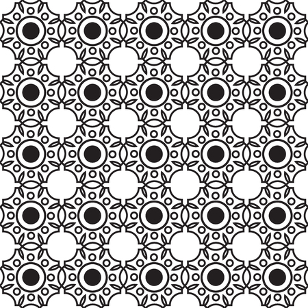 Abstract monochrome seamless pattern with connected repeating geometric structure in minimalistic style vector illustration