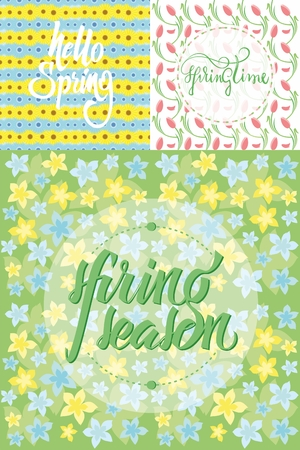 Floral spring seamless patterns set with calligraphic inscriptions and natural beautiful flowers vector illustration Illusztráció