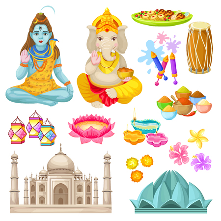Colorful Indian Culture Elements Set. Vector illustration. Ilustração