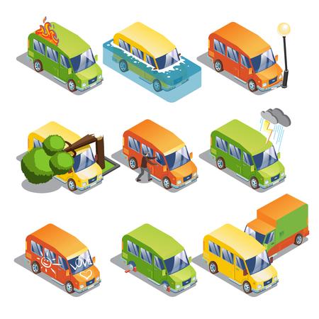 Isometric Car Insurance Set. Vector illustration. Illustration