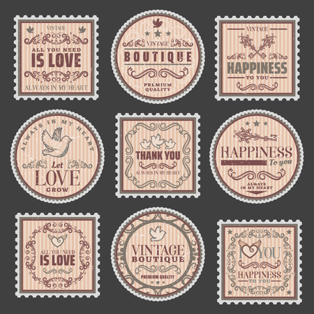 Vintage Romantic Colored Stamps Set Ilustração