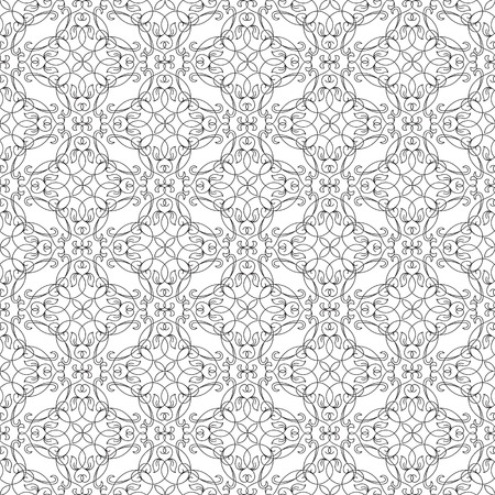 Abstract natural seamless pattern with ornate floral connected repeating structure in style vector illustration.
