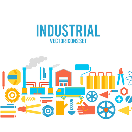 Industrial vector colored decorative icons set. Illustration