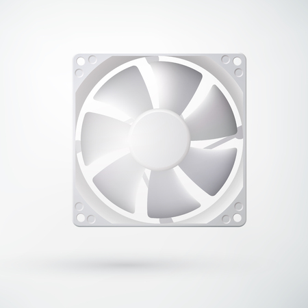 Light cooling system concept with computer fan in realistic style on white background isolated vector illustration