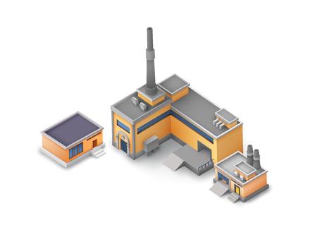 Isometric Industrial Buildings Set vector illustration