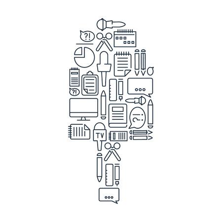 Journalistic Lined Icons Set vector illustration Illustration