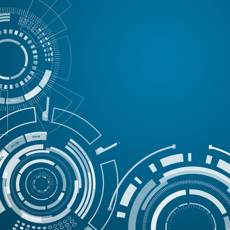 Set of three realistic technology elements with circles, squares and other things in the left corner of the blue background. Vector illustration. Illustration