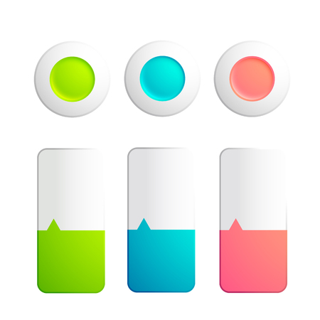 Set of buttons and strips collection with round elements and strips, divided on two colors with small arrow on the white background. Vector illustration. Illustration