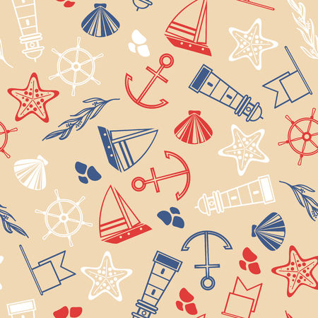 Maritime Hand Drawn Seamless Pattern 向量圖像