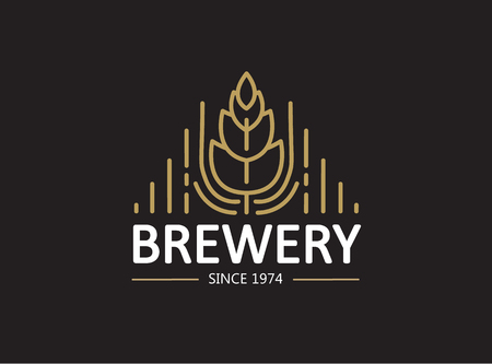 Brewery Beer House Label Illustration