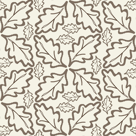 Monochrome abstract seamless background on floral theme with abstract painting composed of oak leaves in linear design flat vector illustration Illustration