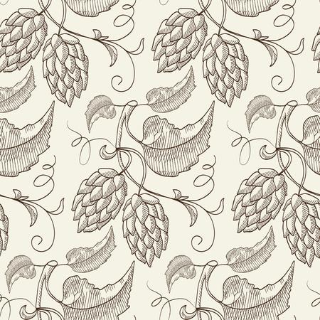 Abstract Natural Botanical Sketch Seamless Pattern Illustration