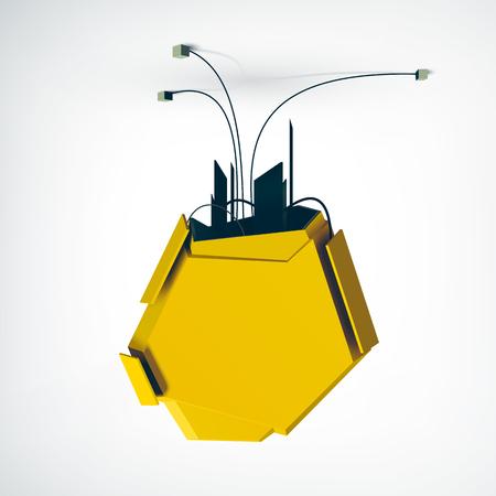 黄色の技術的要素現実的なベクトルイラストを持つ白い看板の背景