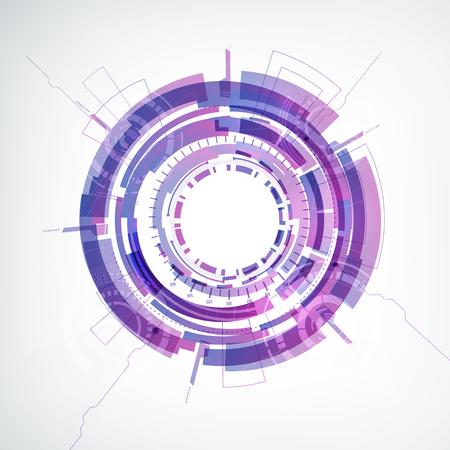 中央フラットベクトルイラストでカラフルな丸い形状を持つ抽象的なテクノジー白い背景