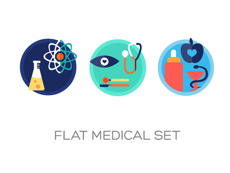 Flat medicine elements set with colorful medical equipment signs and icons on white background isolated vector illustration Illustration