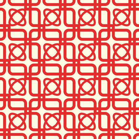 Red and white kaleidoscope seamless pattern repeating symmetric squares, elements and oval shapes vector illustration Иллюстрация