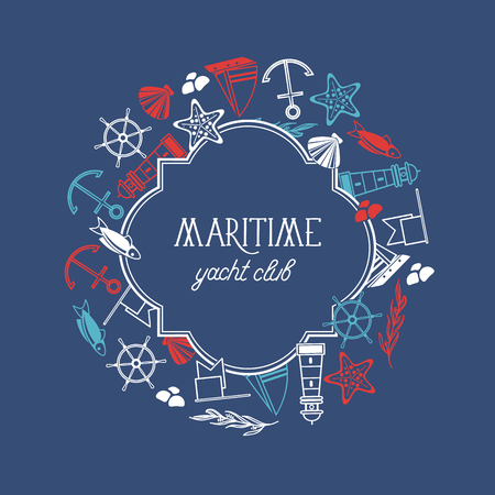 Maritime yacht club round figured frame poster with numerous symbols including fish, ship, red stars and flags around the text on the blue background vector illustration