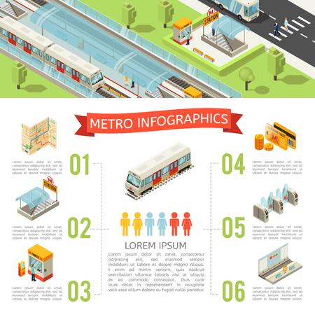 Isometric metro infographic concept with map subway entrance ticket booth transport card turnstile underground platform vector illustration Illustration
