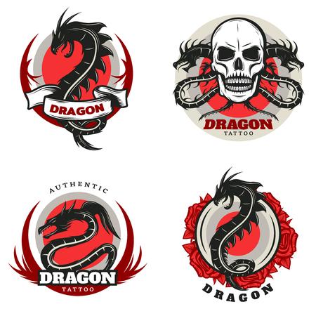 Vintage gekleurde tattoo draak emblemen set
