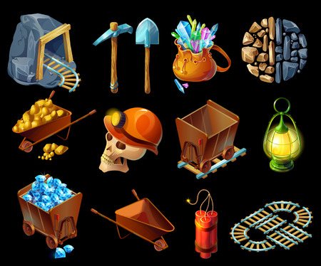 Isometric Mining Game Elemens Set