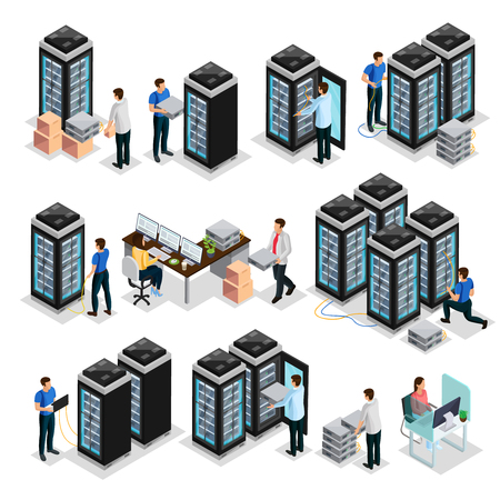 Isometric data center collection with engineers repair and  maintain hosting servers equipment isolated vector illustration Illustration