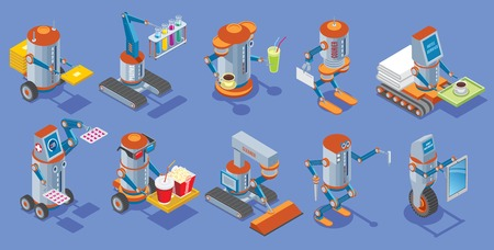 Isometric robots collection with postman medical bar courier hotel service cinema cleaner builder housework mechanical robotic assistants isolated vector illustration. Illustration