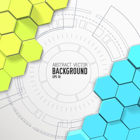 Futuristischer abstrakter Mosaikhintergrund mit den grünen und blauen Hexagonen 3d und Kreisbenutzerschnittstellenschablone vector Illustration Standard-Bild - 94227426