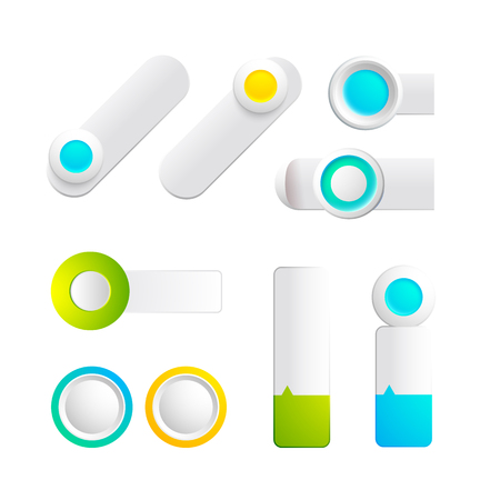 Colorful toggles and buttons collection of different shapes and colors for web design isolated vector illustration