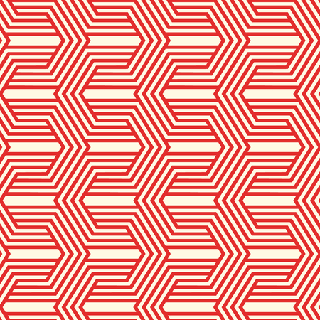 Red minimalistic seamless pattern with connected lines of repeating structure in vintage style vector illustration Stock Illustratie