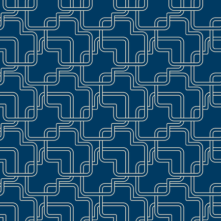 Abstract monochrome vintage seamless pattern with intersecting geometric lines on blue background vector illustration