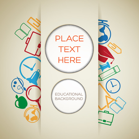 Learning light template with paper cut circles place for text and colorful school icons vector illustration