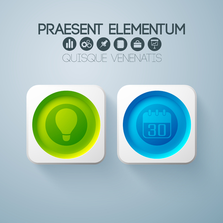 Business web design elements with 2 buttons illustration.